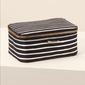 Stella & Dot Black & White Stripe Jewerly Box